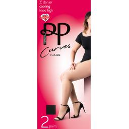 Pretty Polly Curves COOLING KNEE HIGHS   Black & Nude  Plus Size