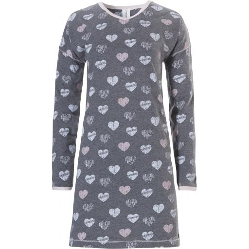 Rebelle LONG SLEEVE NIGHTDRESS Hearts LAST SIZE Extra Small (8) SALE !!