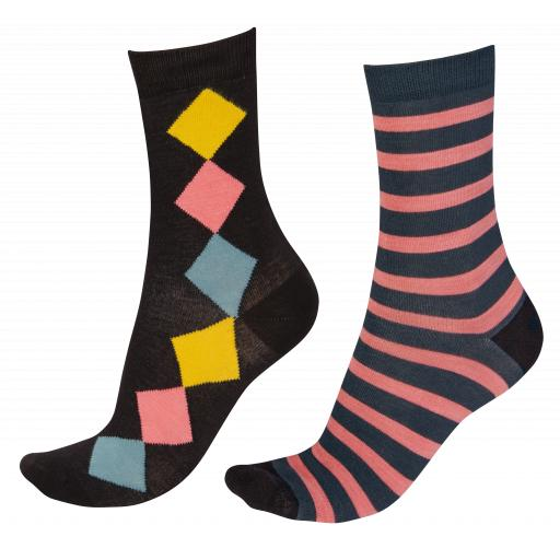 Pretty Polly BAMBOO SOCKS Diamonds/Stripes