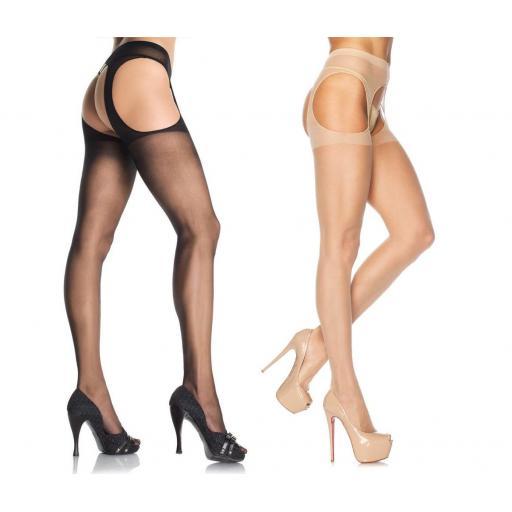 Legs Avenue SHEER SUSPENDER TIGHTS Black Nude
