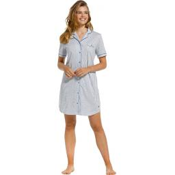 pastunette blue and white stripe short sleeve nightshirt on model..jpg