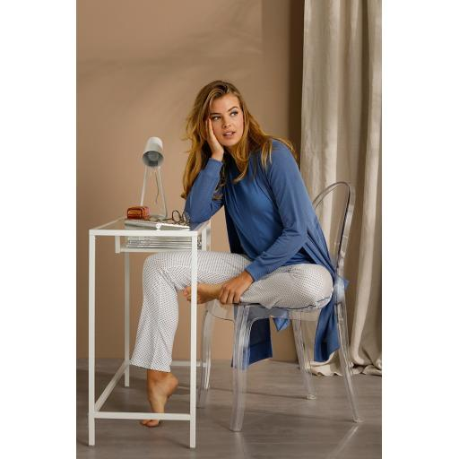 Pastunette Delux Blue pyjama set on model.jpg