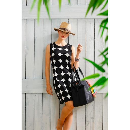 Pastunette BEACH DRESS Black/White SIZE Large (16/18)